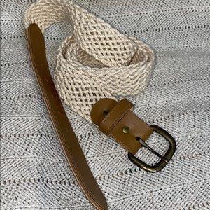 Vintage light beige braided belt